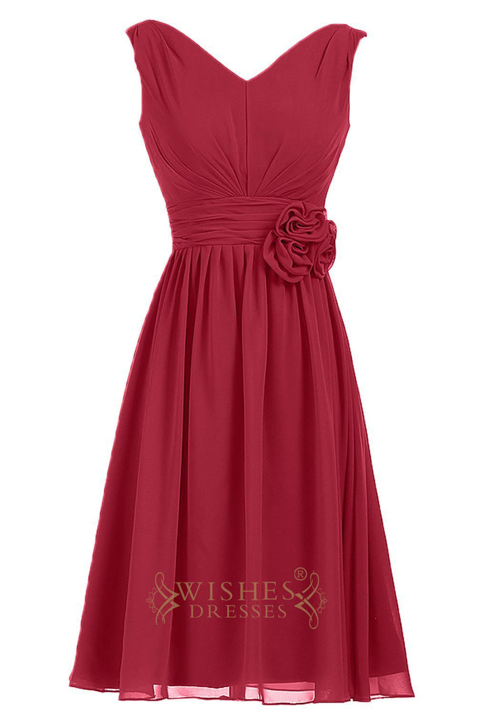 A-line V-neck Chiffon Bridesmaid Dress Am216