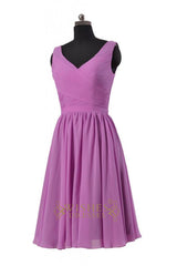 A-line V-neck Blue Chiffon Knee Length Bridesmaid Dresses Am232