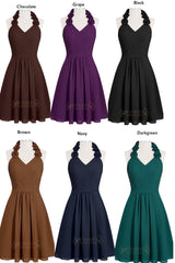 A-line Dark Green Flower Floral Halter Bridesmaid Dresses Am236