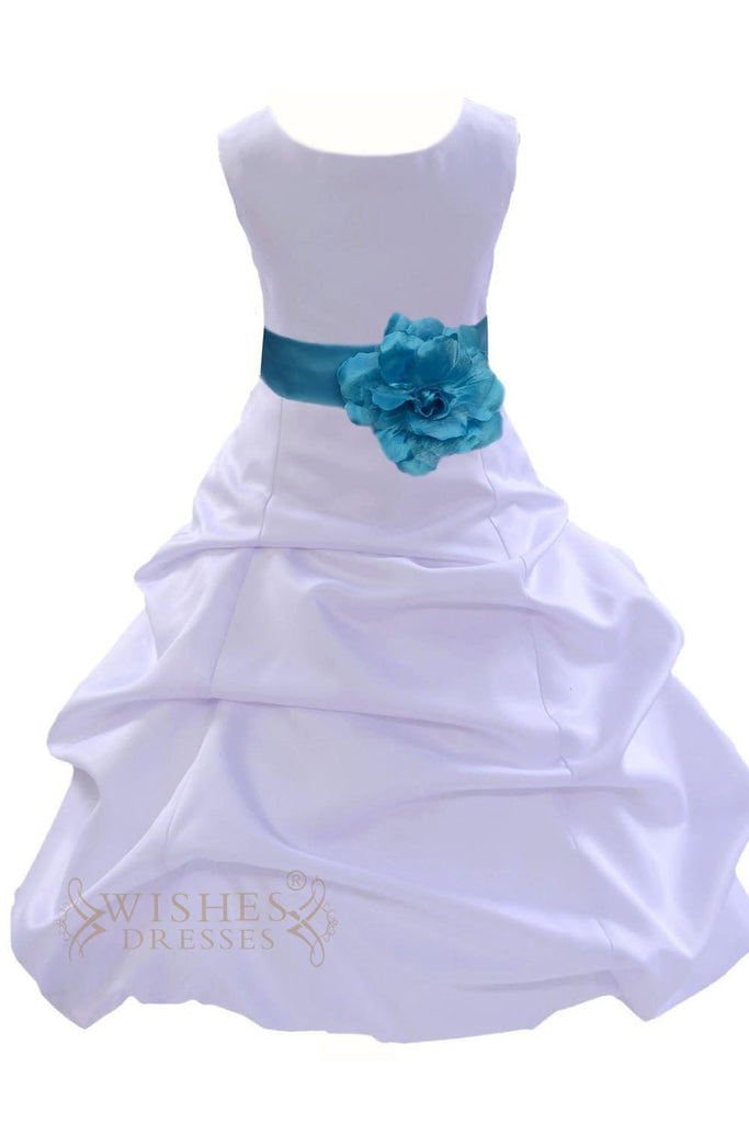 A-line Bicolor Satin Flower Girl Dress With Belt Am237