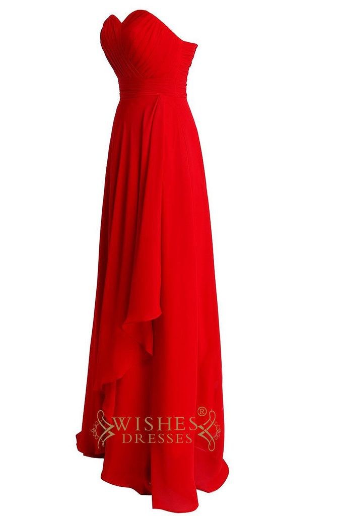A line red simple bridesmaid dresses with ruching bodice for Simple red wedding dresses