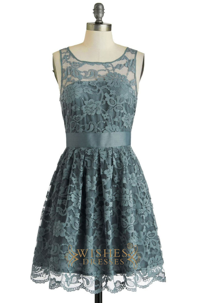 A-line Green Lace Bridesmaid Dresses Am244