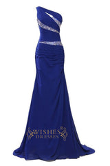 Fashion Mermaid One-shoulder Daffodil Long Sequins Details Prom Dresses /Formal Dresses Am25