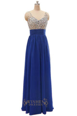 Fashion V-neck Chiffon Long Evening Dress / Prom Dress/  Formal Dress Am250
