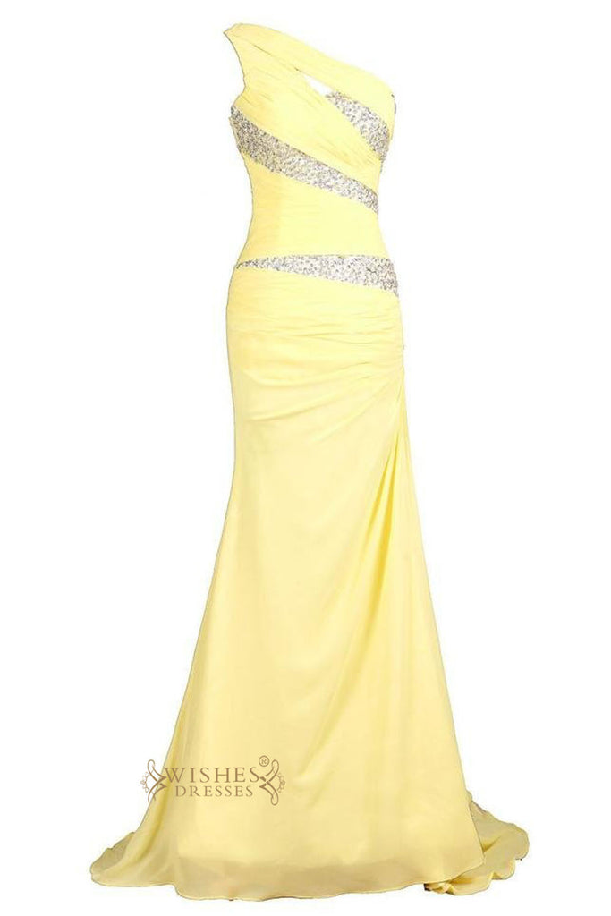 Sexy Mermaid One-shoulder Daffodil Long Sequins Details Prom Dresses /Formal Dresses Am25