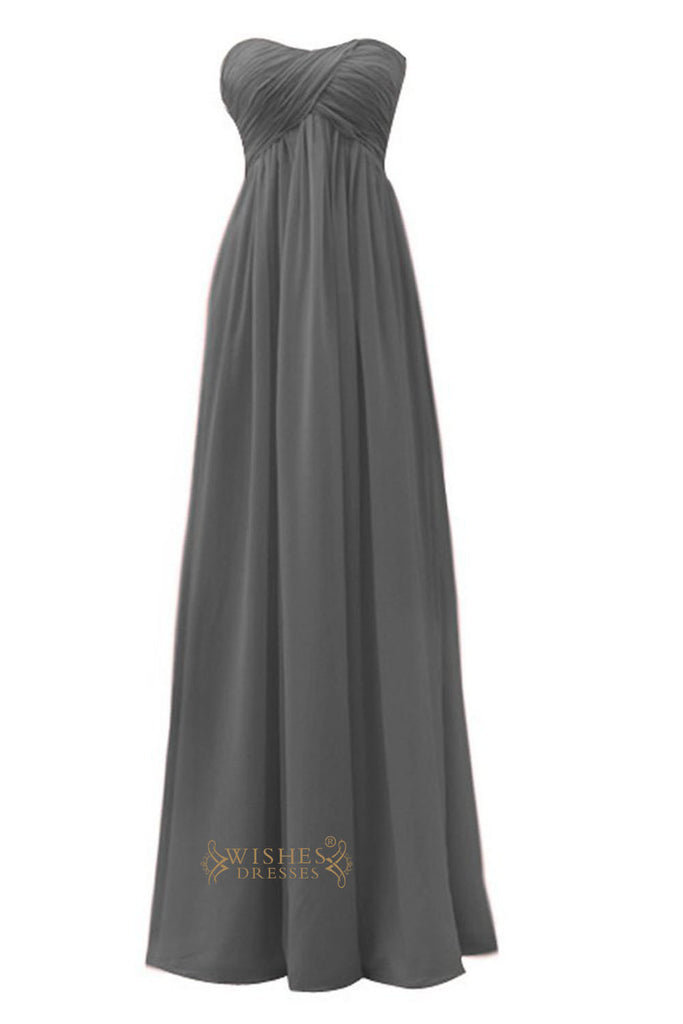 Empire Strapless Sweetheart Grey Floor Length Bridesmaid Dress Am26