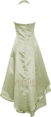 Pleated Bodice Sage Halter Top High Low Bridesmaid Dress With Chiffon Layer Gown Am27