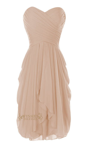Sweetheart Neckline Champagne Bridesmaid Dress With Knee Length Skirt in Chiffon Color Am28