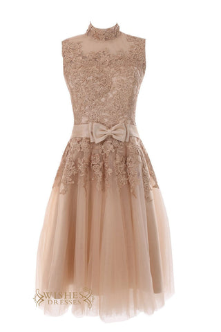 High Neck Cute Short Gown Covered Lace Top Engagement Party Dress /Wedding Dress  Am31
