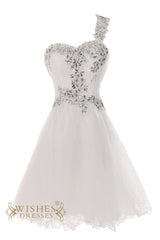 Bling One-shoulder Short Wedding Dress/ Engagement Party Dress Am33