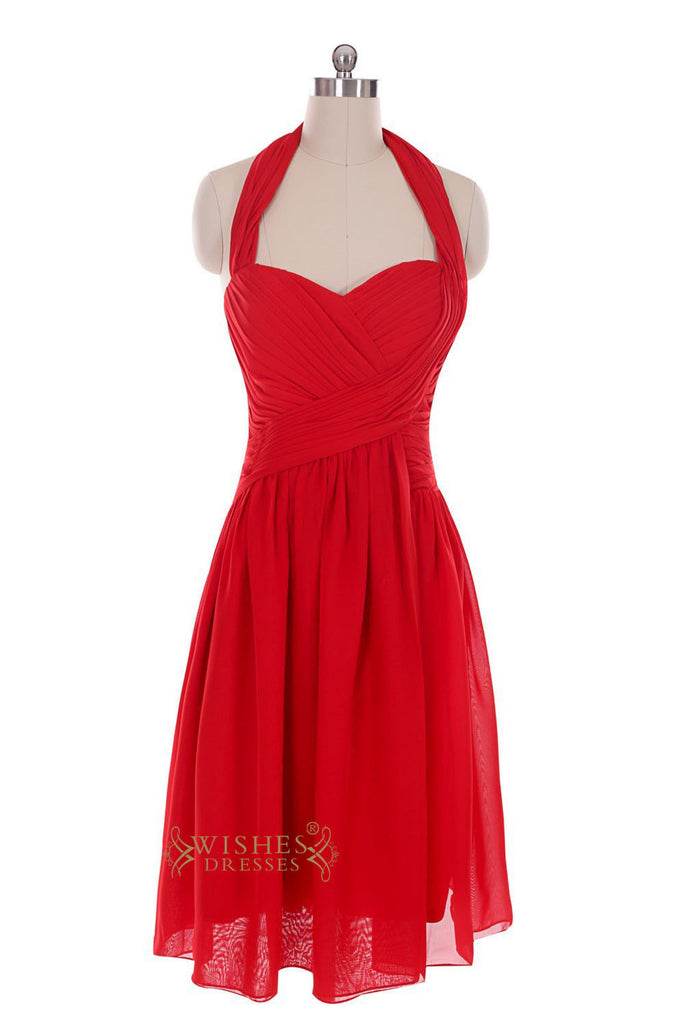Halter Top Red Chiffon Knee Length Prom Dresses For Wedding /Mismatch  Bridesmaid Dress Am34