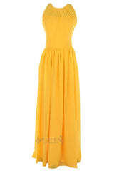 Yellow Floor Length Bridesmaid Dress With O-neck For Wedding Party Am36