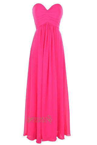 Sweetheart Neckline Fuchsia Bridesmaid Dress/ Long Formal Gown/ Prom Dresses  Am37