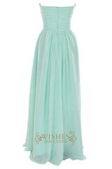 A-line Chiffon Mint Bridesmaid Dress with Sweetheart Neckline Am40