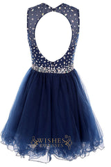O-neck Colorful Gem Royal Blue Cocktail Dress/ Short Prom Dress Am41