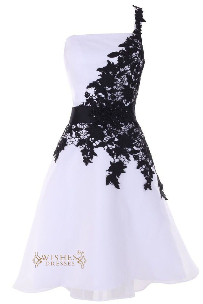 Asymmetrical Black Lace One Shoulder Cocktail Dress/  Short Prom Dress Am42