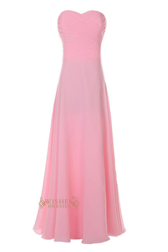 Simple Style Ruched Bodice Pink Chiffon Bridesmaid Dress Am43