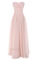 Empire Light Pink Criss-cross Floor Length Bridesmaid Dress /Evening Dress Am44