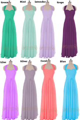 Pink Halter Top Chiffon Long Bridesmaid Dress Am45
