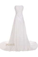 Strapless Chiffon Bridal Gown With Chapel Train and Corset Back Beach Wedding Dress Am47