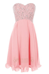 Beaded Bodice Pink Short Prom Dress/Cocktail Dress Am49