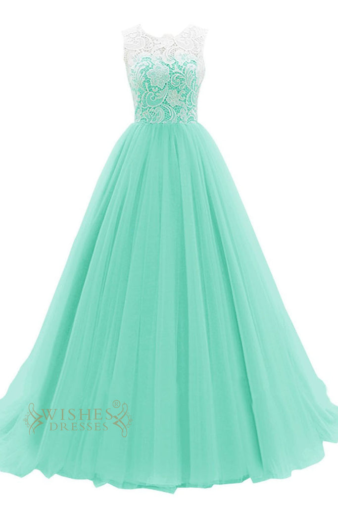 Hotsale Turquoise Organza Formal Dress With White Lace Top Prom Dress Am52