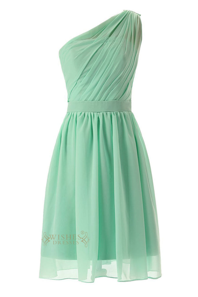 Pleated One-shoulder Mint Chiffon Knee Length Bridesmaid Dress Am53