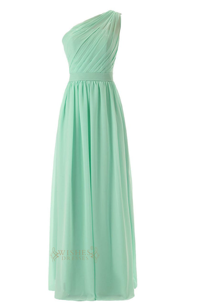 5f572ea59b24b Delicated Ruched One-shoulder Mint Chiffon Floor Length Bridesmaid Dress  Am55