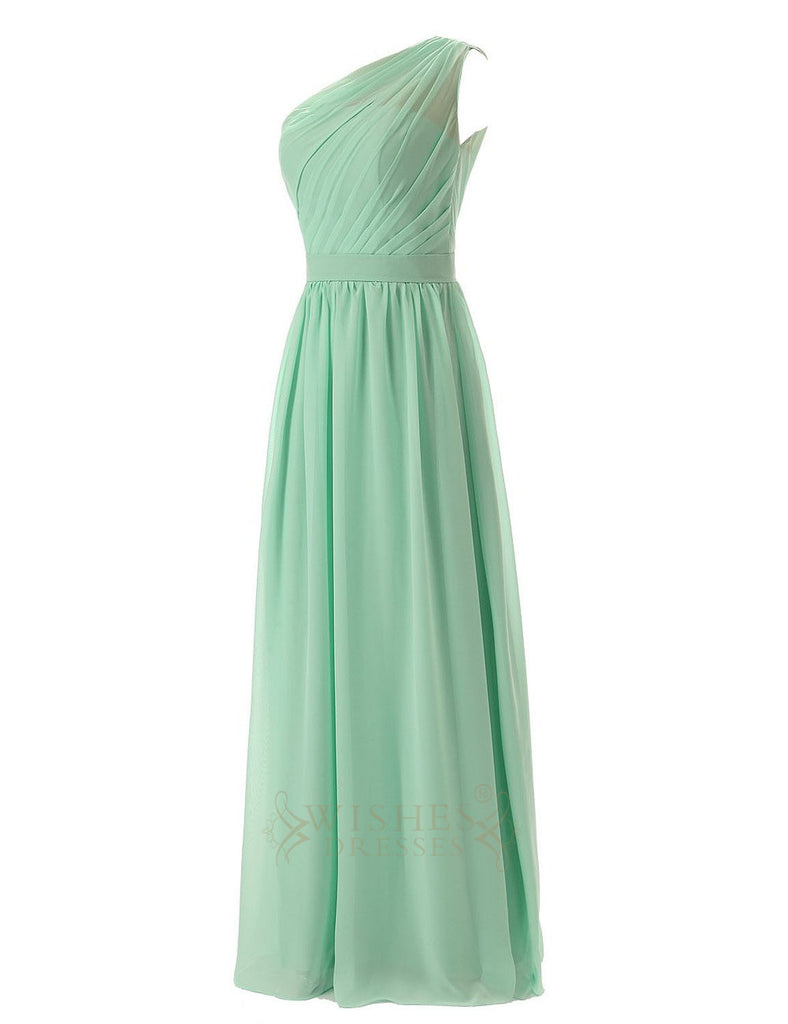 Delicated Ruched One-shoulder Mint Chiffon Floor Length Bridesmaid Dre