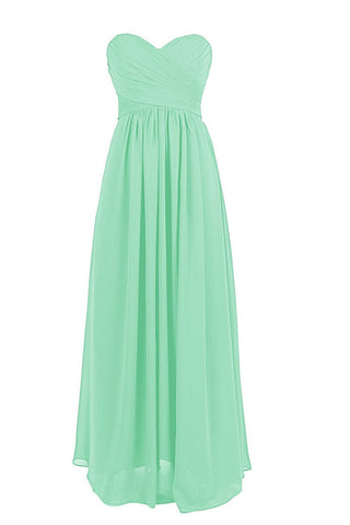 A-line One-shoulder Mint Chiffon Floor Length Bridesmaid Dress Am56