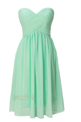 A-line Sweetheart Mint Chiffon Knee Length Bridesmaid Dress Am57