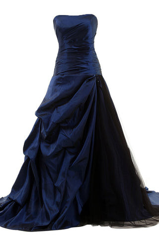 Navy Blue Pick-up Skirt Ball Gown Prom Dress /Formal Dress Am59