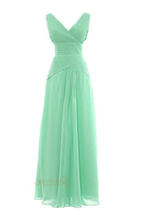 Sexy Long Mint Bridesmaid Dress With V Neckline AM62