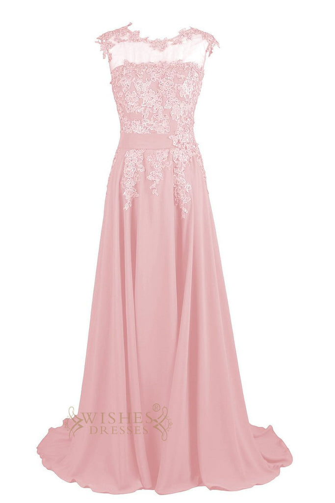Applique Details Candy Pink Chiffon Long Formal Dress Am63