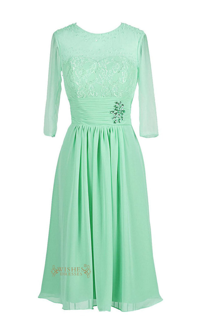 Lace Top O-neck Half Sleeves Mint Mother of The Bride Dress /Bridesmaid Dress Am66