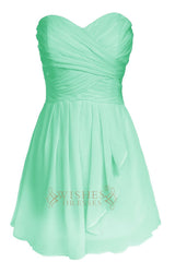 Strapless Mint Blue Knee Length Bridesmaid Dress Am67
