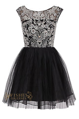 O-neck Delicate Beaded Black Short Cocktail Dress/ Prom Dress Am70