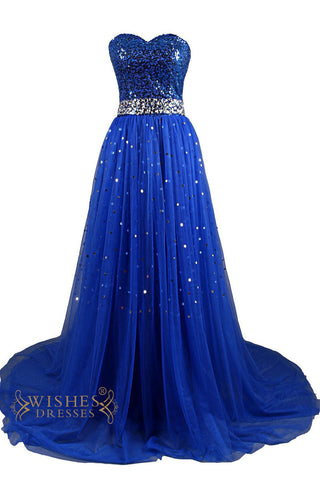 Sequins Lace Bodice Long Formal Dress Am71