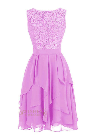 Lace Covered Lilac Knee Length Bridesmaid Dress AM73