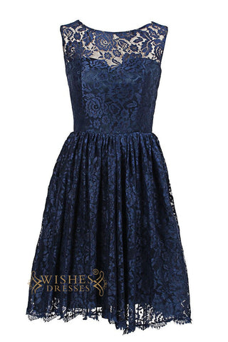 A-line Dark Navy Lace Knee Length Bridesmaid Dress Am75