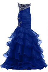 Sexy Mermaid Royal Blue Long Prom Dress Am77