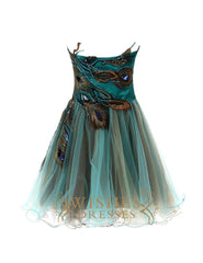 Dark Green Peacock Cocktail Dress Am78