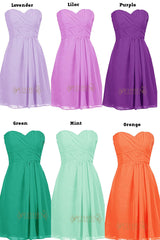Hot Pink Chiffon Knee Length Bridesmaid Dress Am79