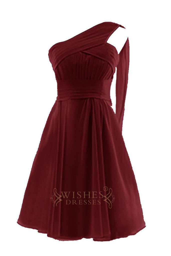 Pleated One-shoulder Burgundy Chiffon Bridesmaid Dress AM80