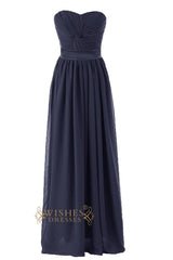 A line Criss-cross Navy Floor Length Bridesmaid Dress Am81
