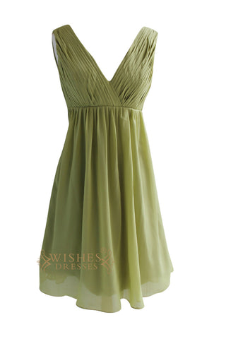 Sexy V-neck Hunter Pleated Knee Length Bridesmaid Dress Am83