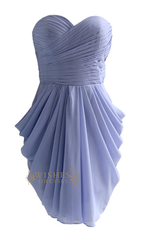 Pick-up Skirt Lavender Chiffon Knee Length Bridesmaid Dress Am84