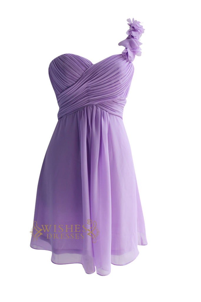 One Strap With Flower Foral Knee Length Bridesmaid Dress Am85