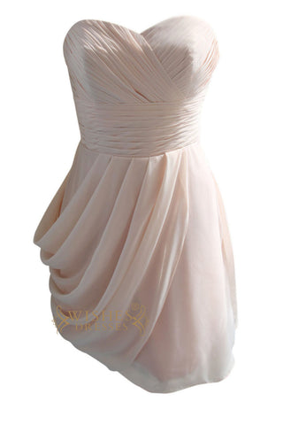 Strapless Pearl pink Short Bridesmaid Dresses Am86