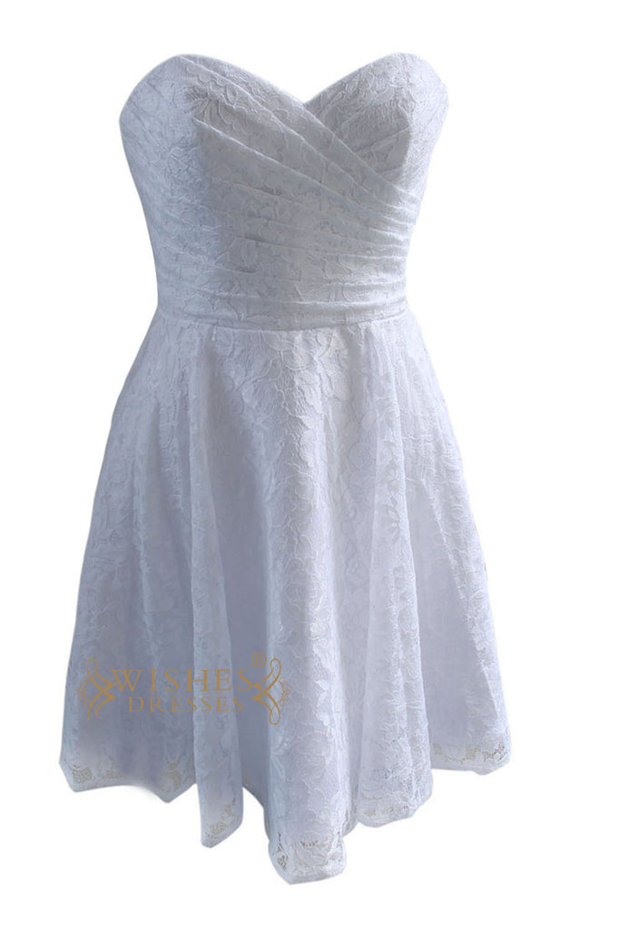 Elegant Lace Bridesmaid Dress in White Am87